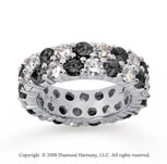 3 1/2 Carat Black and White Diamond 14k White Gold Eternity Band