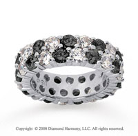 5 1/2 Carat Black and White Diamond 14k White Gold Eternity Band