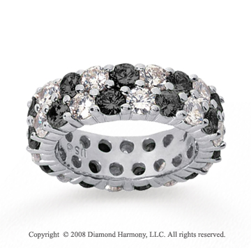 5 1/2 Carat Black and White Diamond 18k White Gold Eternity Band