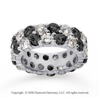 6 1/2 Carat Black and White Diamond 18k White Gold Eternity Band