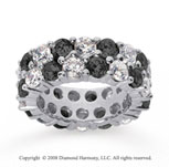 8 1/2 Carat Black and White Diamond 18k White Gold Eternity Band