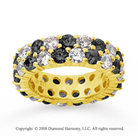 3 1/2 Carat Black White Diamond 14k Yellow Gold Eternity Band