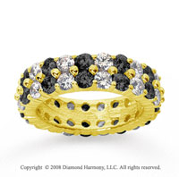 4 1/2 Carat Black White Diamond 18k Yellow Gold Eternity Band