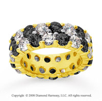 6 1/2 Carat Black White Diamond 18k Yellow Gold Eternity Band