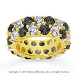 8 1/2 Carat Black White Diamond 18k Yellow Gold Eternity Band