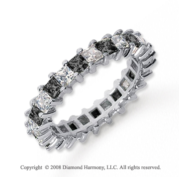 2 1/2 Carat Black and White Diamond Platinum Eternity Band