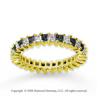 1 1/2 Carat Black White Diamond 14k Yellow Gold Eternity Band