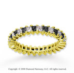 2 Carat Black White Diamond 14k Yellow Gold Eternity Band