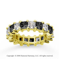 4 3/4 Carat Black White Diamond 14k Yellow Gold Eternity Band