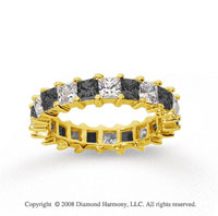 3 1/2 Carat Black White Diamond 18k Yellow Gold Eternity Band