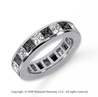 4 Carat Black and White Diamond Platinum Eternity Band