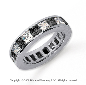 4 3/4 Carat Black and White Diamond Platinum Eternity Band