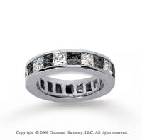4 3/4 Carat Black and White Diamond 18k White Gold Eternity Band