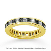 1 Carat Black White Diamond 14k Yellow Gold Eternity Band