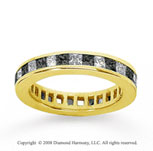 3/4 Carat Black and White Diamond 18k Yellow Gold Eternity Band