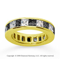 4 3/4 Carat Black White Diamond 18k Yellow Gold Eternity Band