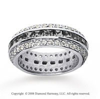2 1/2 Carat Black and White Diamond 18k White Gold Eternity Band