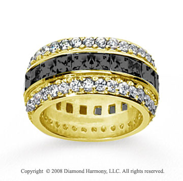 5 Carat Black White Diamond 14k Yellow Gold Eternity Band