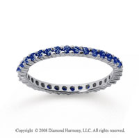 1/2 Carat Sapphire 14k White Gold Round Eternity Band