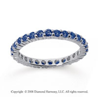 1 Carat Sapphire 14k White Gold Round Eternity Band
