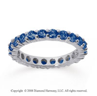 1 1/2 Carat Sapphire 14k White Gold Round Eternity Band