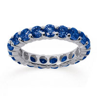 3 Carat Sapphire 14k White Gold Round Eternity Band