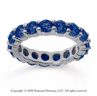 3 1/2 Carat Sapphire 14k White Gold Round Eternity Band