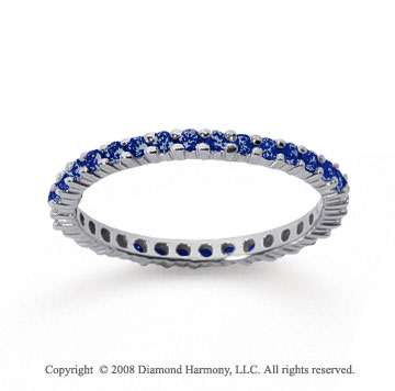 1/2 Carat Sapphire 18k White Gold Round Eternity Band