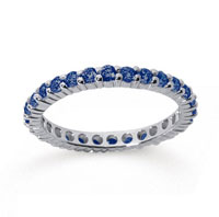 1 Carat Sapphire 18k White Gold Round Eternity Band