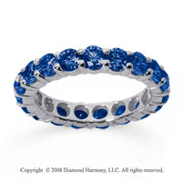 3 Carat Sapphire 18k White Gold Round Eternity Band
