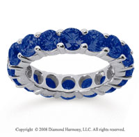 5 Carat Sapphire 18k White Gold Round Eternity Band