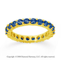 1 1/2 Carat Sapphire 14k Yellow Gold Round Eternity Band