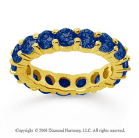 3 1/2 Carat Sapphire 14k Yellow Gold Round Eternity Band