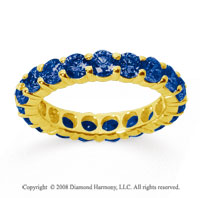 3 Carat Sapphire 18k Yellow Gold Round Eternity Band