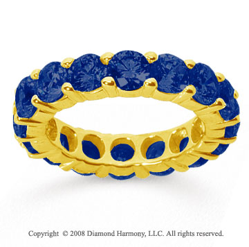 5 Carat Sapphire 18k Yellow Gold Round Eternity Band