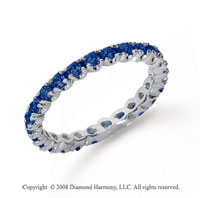 3/4 Carat Blue Sapphire Platinum Round Four Prong Eternity Band