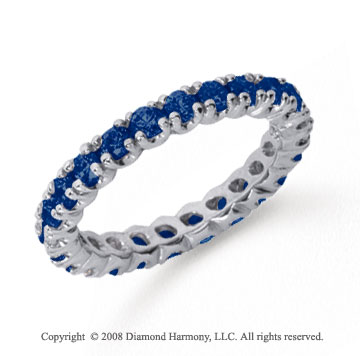 1 Carat Blue Sapphire Platinum Round Four Prong Eternity Band