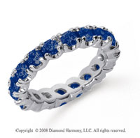 2 Carat Blue Sapphire Platinum Round Four Prong Eternity Band