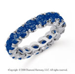 3 Carat Blue Sapphire Platinum Round Four Prong Eternity Band