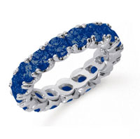 3 1/2 Carat Blue Sapphire Platinum Round Four Prong Eternity Band