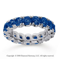 4 1/2 Carat Blue Sapphire 14k White Gold Round Four Prong Eternity Band