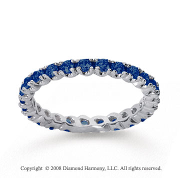 3/4 Carat Blue Sapphire 18k White Gold Round Four Prong Eternity Band