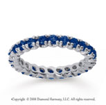 1 Carat Blue Sapphire 18k White Gold Round Four Prong Eternity Band
