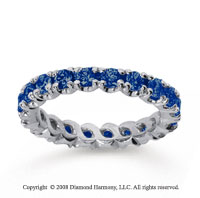 1 1/2 Carat Blue Sapphire 18k White Gold Round Four Prong Eternity Band