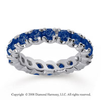 2 1/2 Carat Blue Sapphire 18k White Gold Round Four Prong Eternity Band