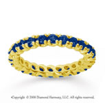 1 Carat Blue Sapphire 14k Yellow Gold Round Four Prong Eternity Band