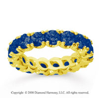 3 1/2 Carat Blue Sapphire 14k Yellow Gold Round Four Prong Eternity Band