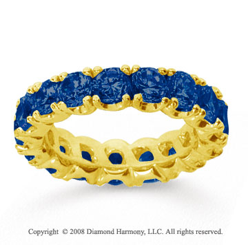 4 1/2 Carat Blue Sapphire 14k Yellow Gold Round Four Prong Eternity Band