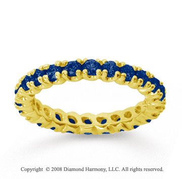 1 Carat Blue Sapphire 18k Yellow Gold Round Four Prong Eternity Band