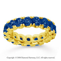 4 1/2 Carat Blue Sapphire 18k Yellow Gold Round Four Prong Eternity Band
